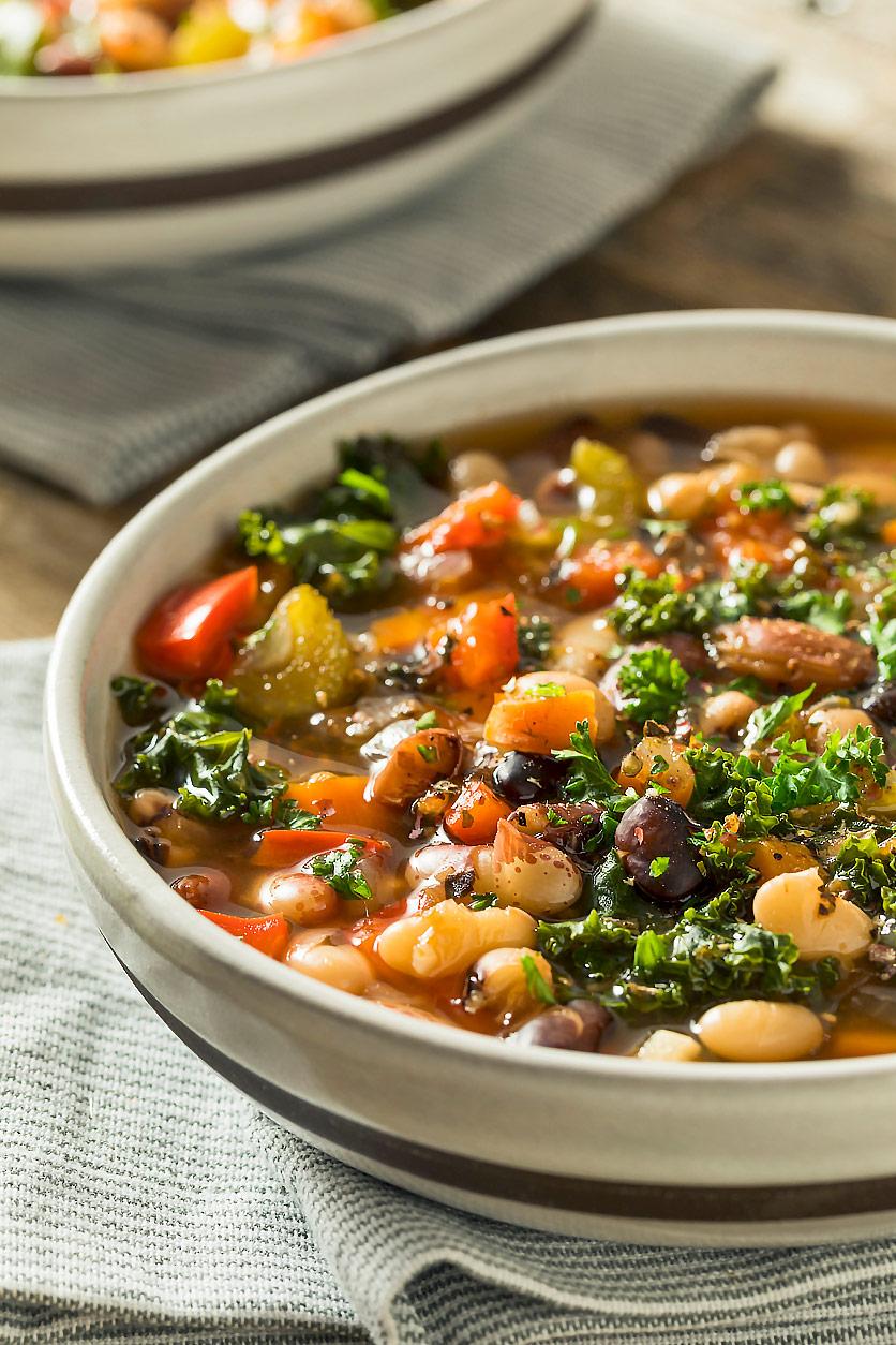 Hearty Mixed Bean Soup (GF) iStock photo; Jane Bonacci, The Heritage Cook