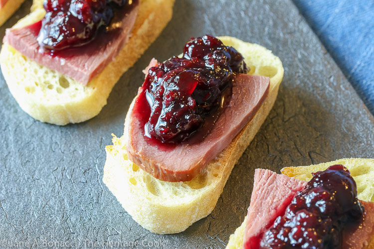 Smoked Duck and Spiced Jam Canape Appetizers © 2020 Jane Bonacci, The Heritage Cook