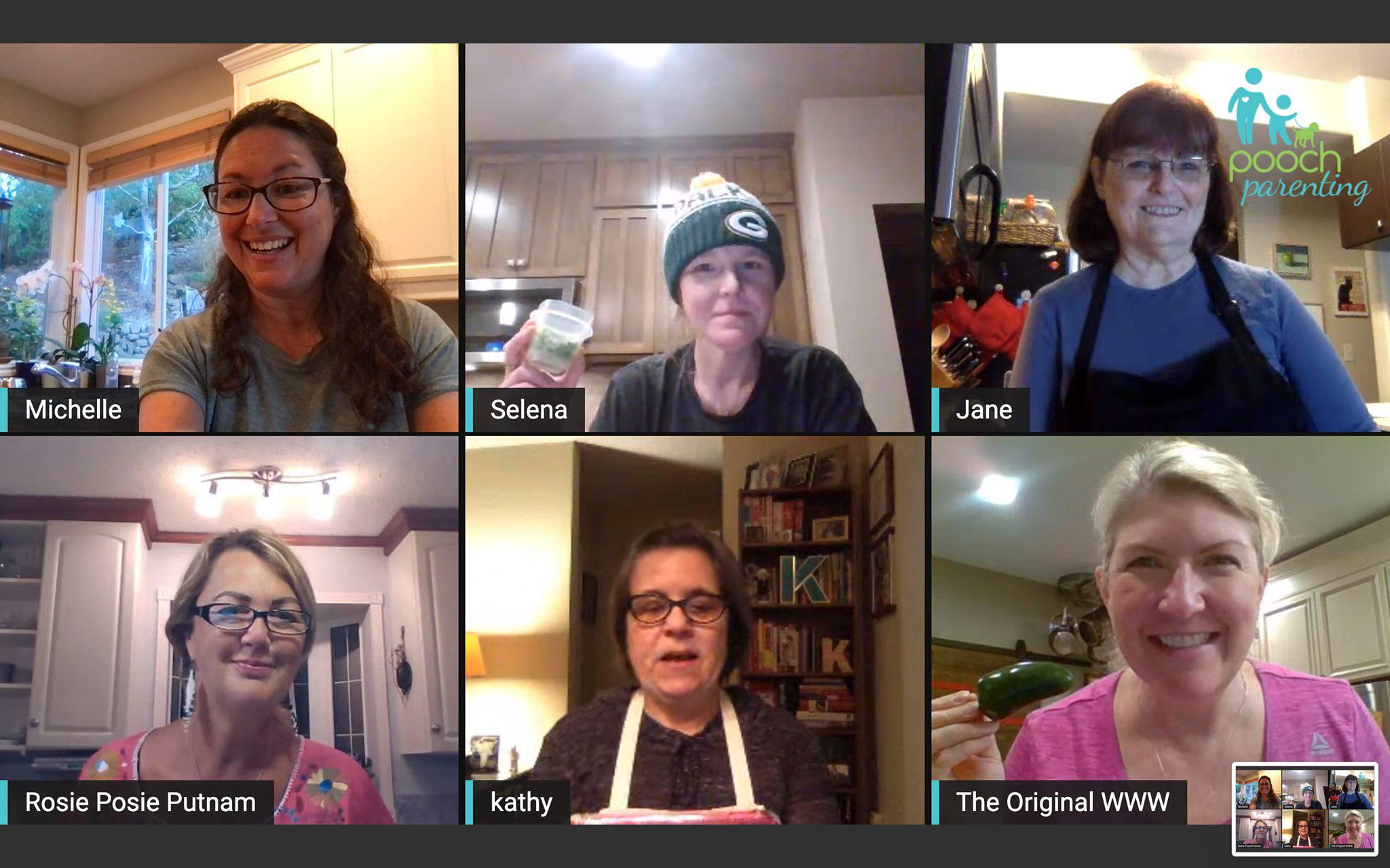 Zoom meeting of friends; Beef Taco Dip © 2021 Jane Bonacci, The Heritage Cook