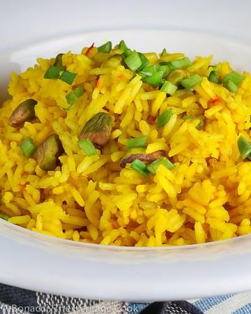 Easy Saffron Rice © 2021 Jane Bonacci, The Heritage Cook