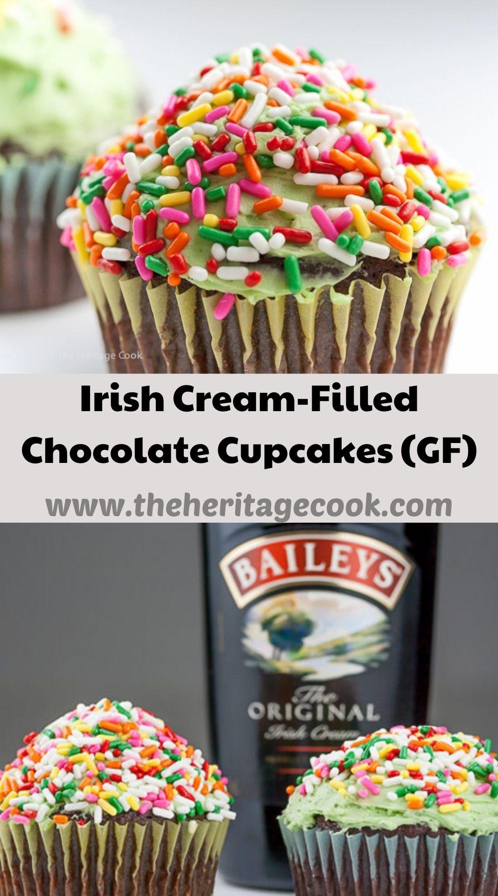 Irish Cream-Filled Chocolate Cupcakes for St. Patrick's Day; 2021 Jane Bonacci, The Heritage Cook