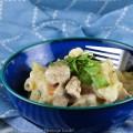 A blue bowl with Chicken Pot Pie Pasta Casserole in it © 2021 Jane Bonacci, The Heritage Cook