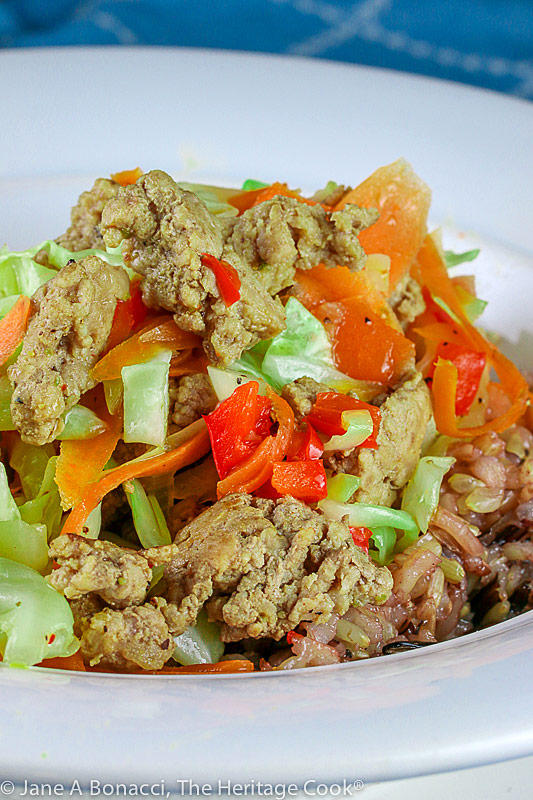Stir Fry Rice Bowl with Ginger Sesame Dressing © 2021 Jane Bonacci, The Heritage Cook