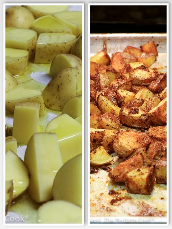 Potatoes before and after roasting; Patatas Bravas (Gluten Free) © 2021 Jane Bonacci, The Heritage Cook