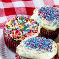 Brownie Cupcakes with Vanilla Frosting (GF) © 2021 Jane Bonacci, The Heritage Cook
