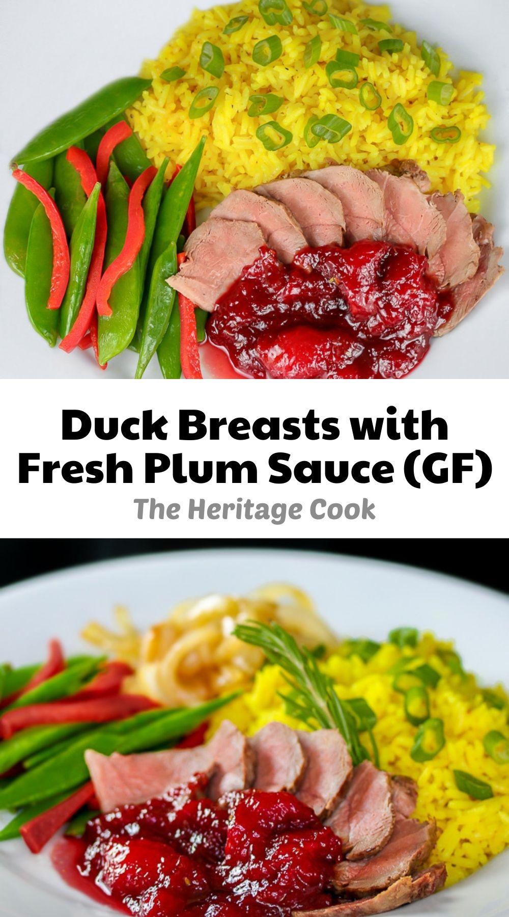 Duck Breasts with Fresh Plum Sauce; © 2021 Jane Bonacci, The Heritage Cook