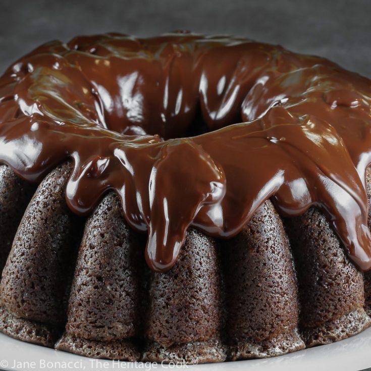 close up of whole chocolate bundt cake with chocolate glaze; Gluten Free Chocolate Bundt Cake © 2021 Jane Bonacci, The Heritage Cook