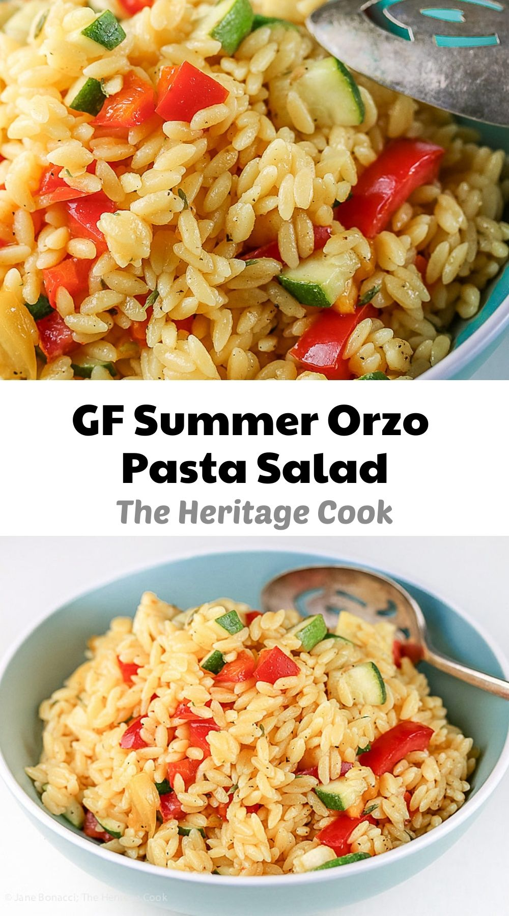 Gluten Free Summer Orzo Pasta Salad © 2021 Jane Bonacci, The Heritage Cook