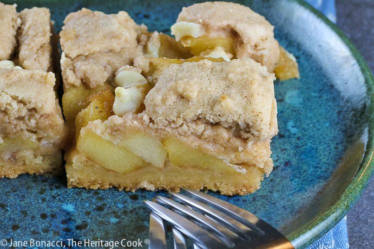 close up of apples in bars; Apple Pie White Chocolate Bars © 2021 Jane Bonacci, The Heritage Cook