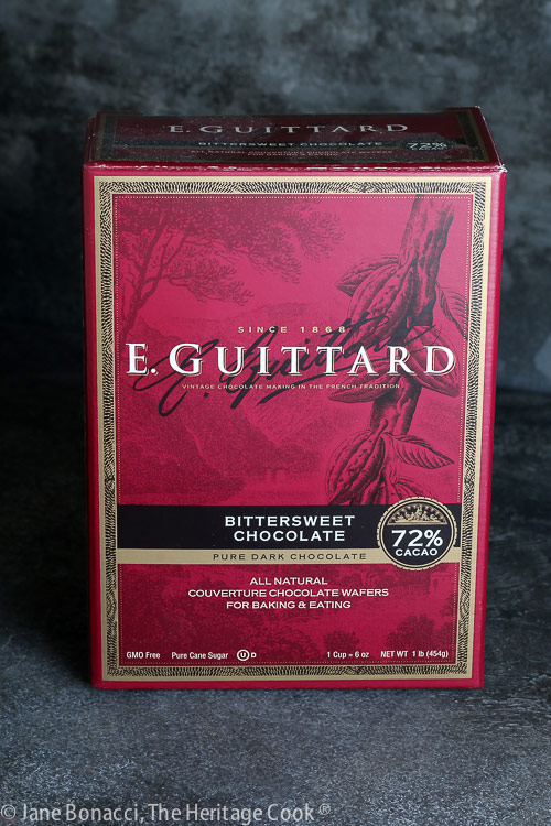 Box of Guittard Bittersweet Chocolate for the ganache