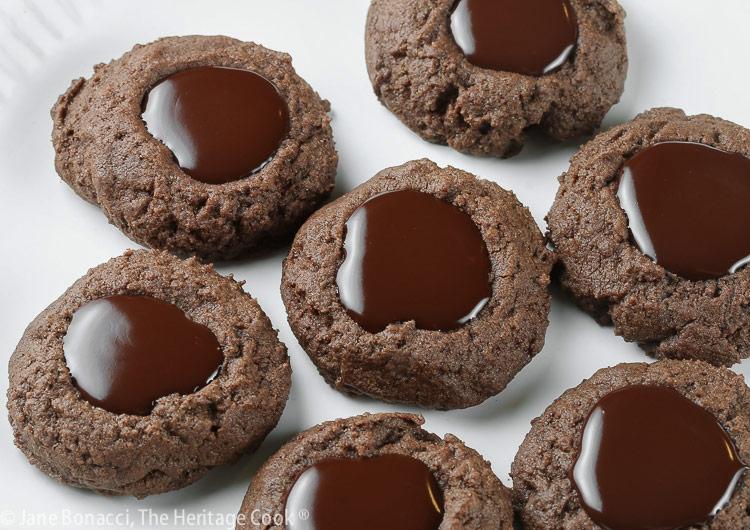 Double Chocolate Thumbprint Cookies (Gluten Free) © 2021 Jane Bonacci, The Heritage Cook