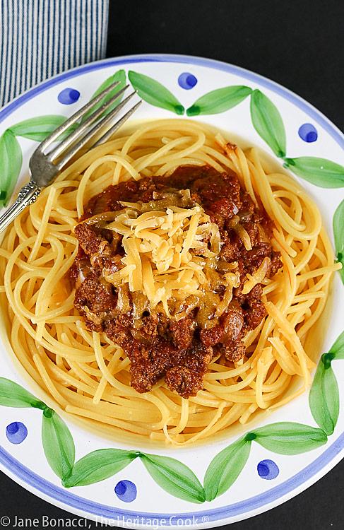 Ohio Chili with Spaghetti for Chocolate Monday © 2021 Jane Bonacci, The Heritage Cook